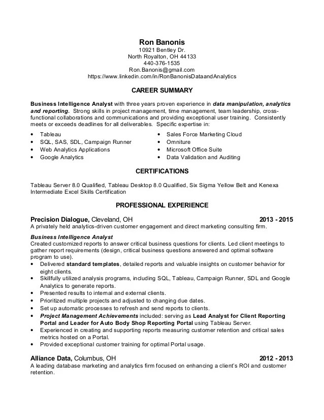 data analytics resume - Goalgoodwinmetals