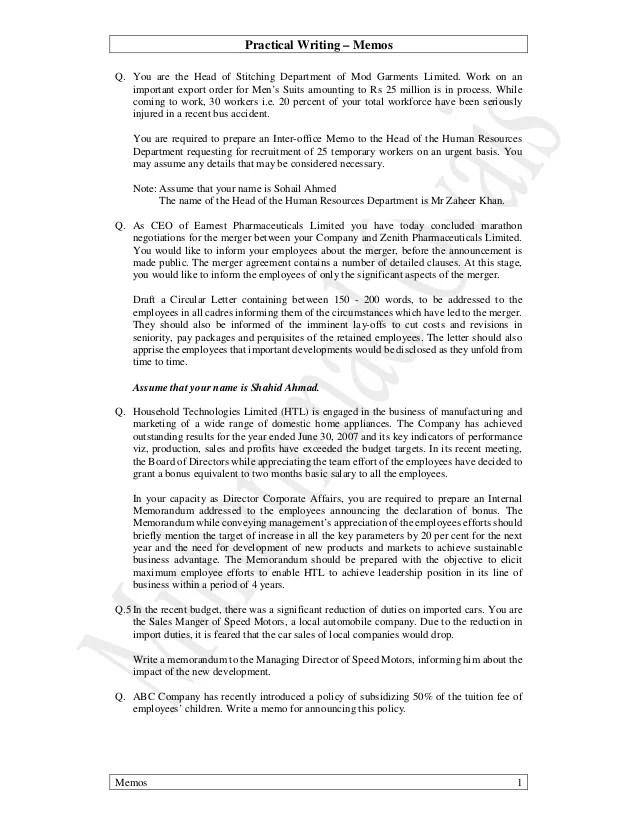sample memo to inform - Apmayssconstruction