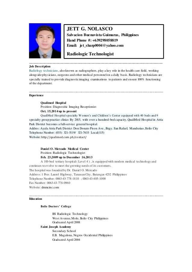 rad tech resume examples - Alannoscrapleftbehind