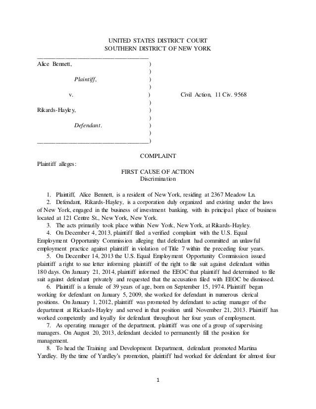 sample civil complaint form - Deanroutechoice