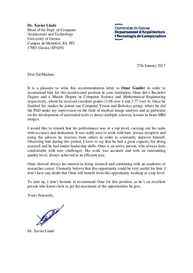 recommendation letter from phd xavier llado