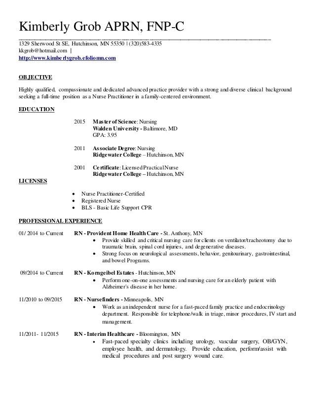 arnp resume example