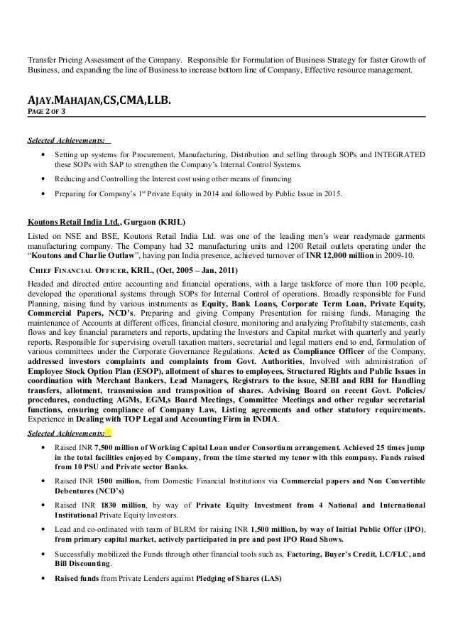 cfo resume - Josemulinohouse - chief financial officer resume