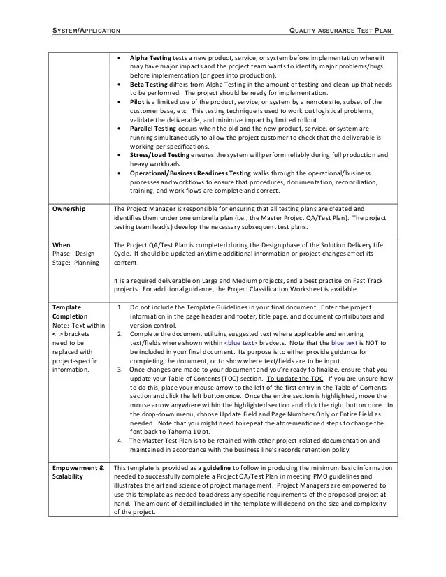 Network Test Plan Template. availability plan ms word template ...