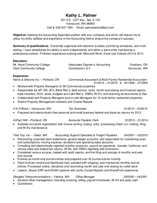 accounting specialist resumes - Ozilalmanoof - account specialist sample resume