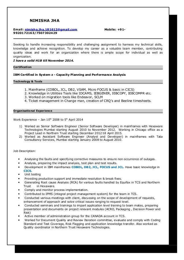 sample resume for experienced mainframe developer - Josemulinohouse