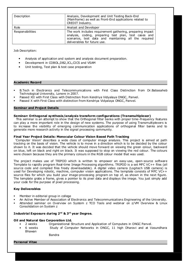 Mainframe Developer Resume Sample Etl One Computer Writer Chicago Systems Analyst