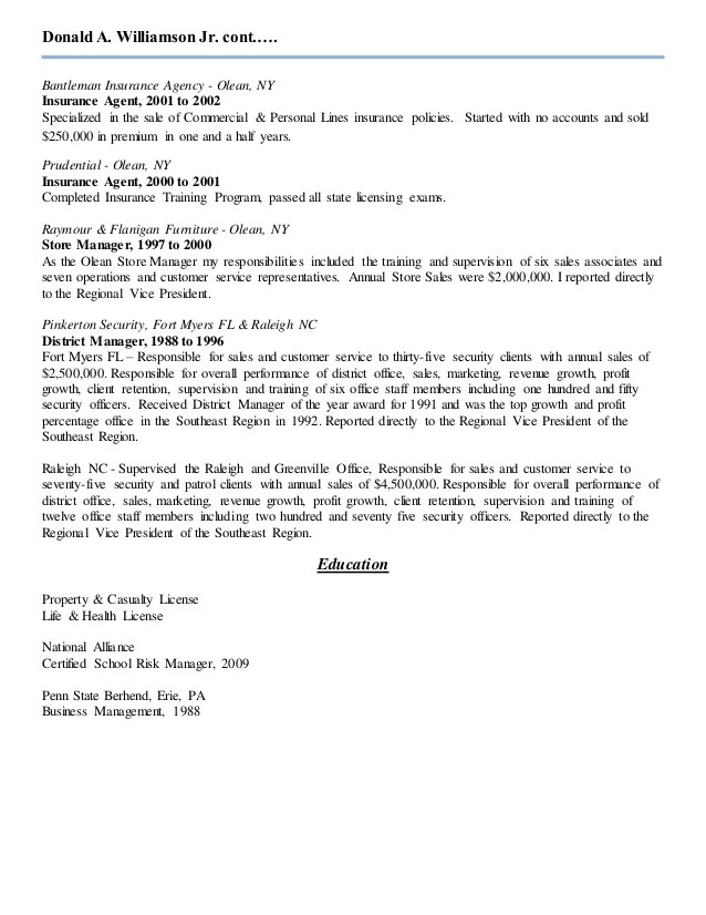 insurance agent resume sample two - Goalgoodwinmetals