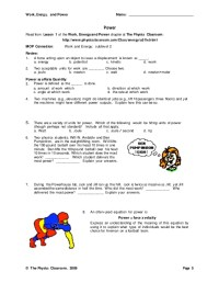 Work Power Energy Worksheet - Letravideoclip