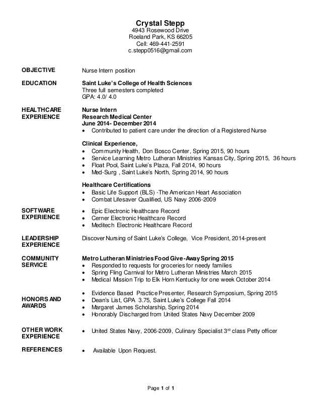 nursing internship resumes - Onwebioinnovate