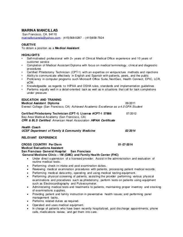 resume for a medical assistant example
