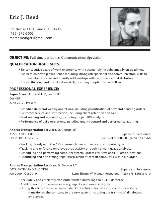 Free Resume Writing Examples The Resume Builder Resume Eric J Reed Communications Specialist