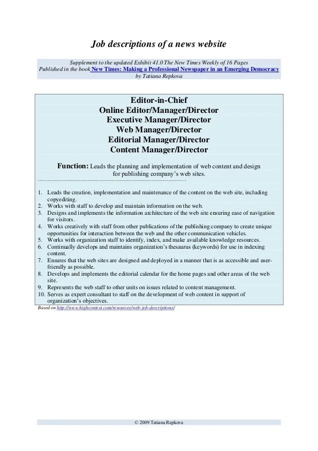 Job Description Video Editor  Release Form Nasm