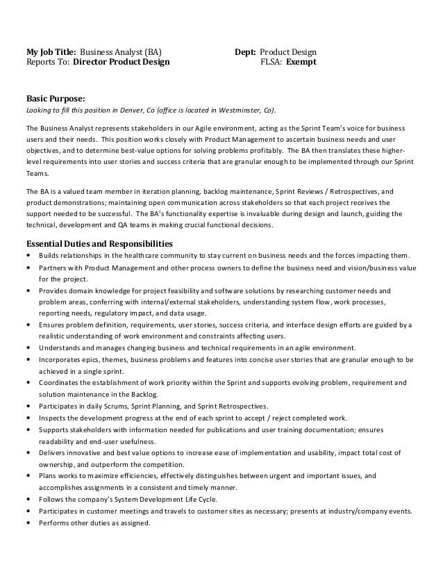 Business Analyst Job Description Practical Analyst Business Analyst Job Description Denver Co 31015