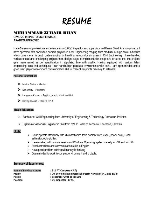 quality assurance inspector resume - Canasbergdorfbib