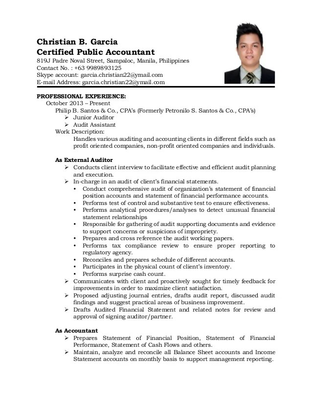 Accountant Resume Sample And Tips Resume Genius Resume Sample For Accountant Philippines Augustais