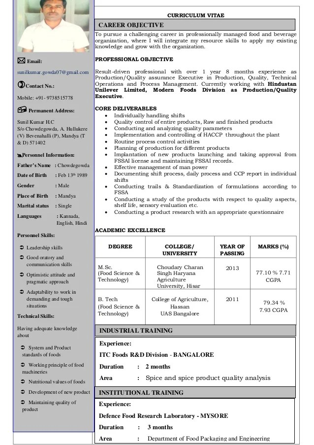 food technology resume examples