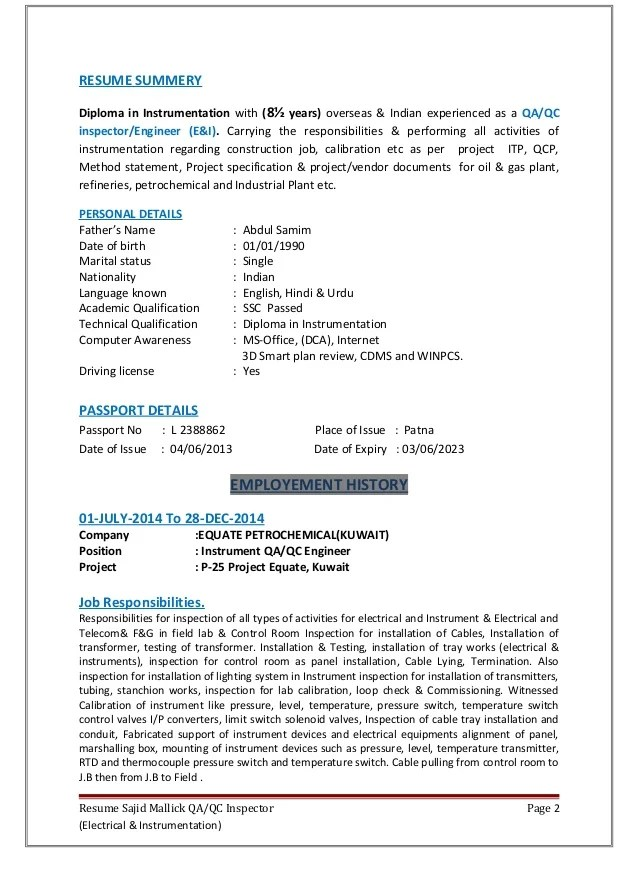 resume in technical english