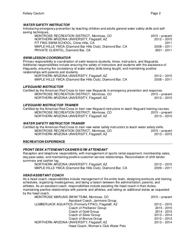 lifeguard resume sample university resume northwestern university - lifeguard resume example