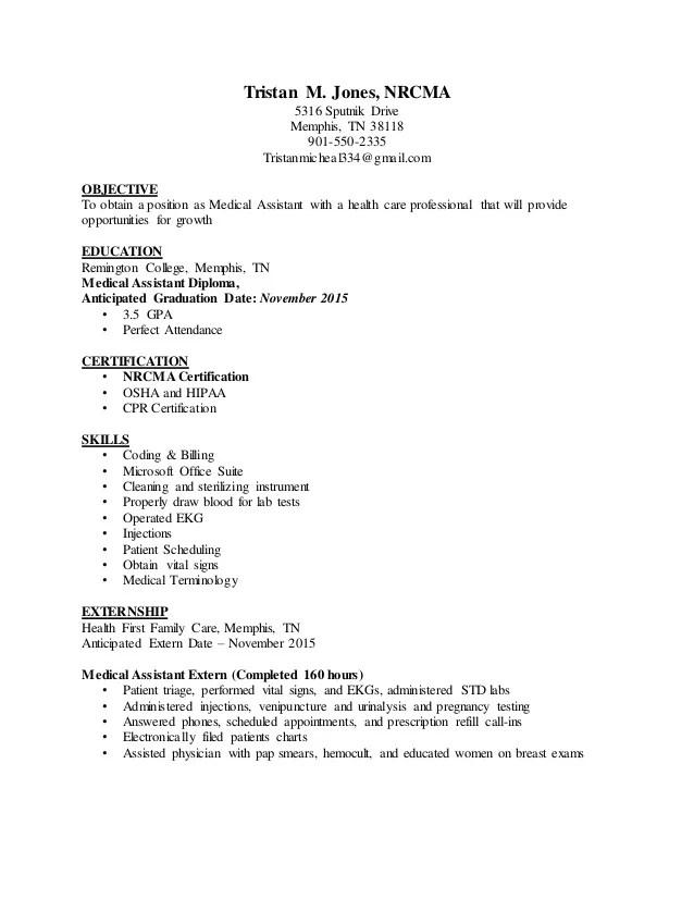 Medical Assistant Resume Examples Tjones Ma Medical Assistant Resume