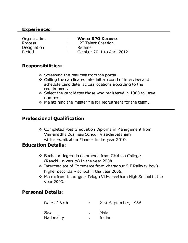 Awesome Bpo Resume Headline Pictures - Professional Resume Examples