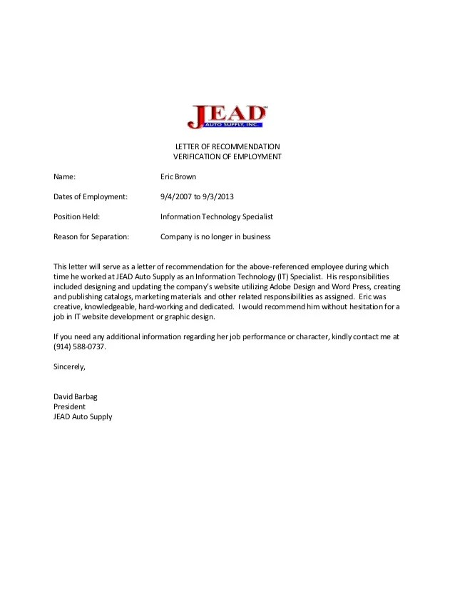 confirmation of employment and letter of recommendation - Selol-ink