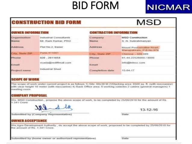 construction bid form - Asliaetherair