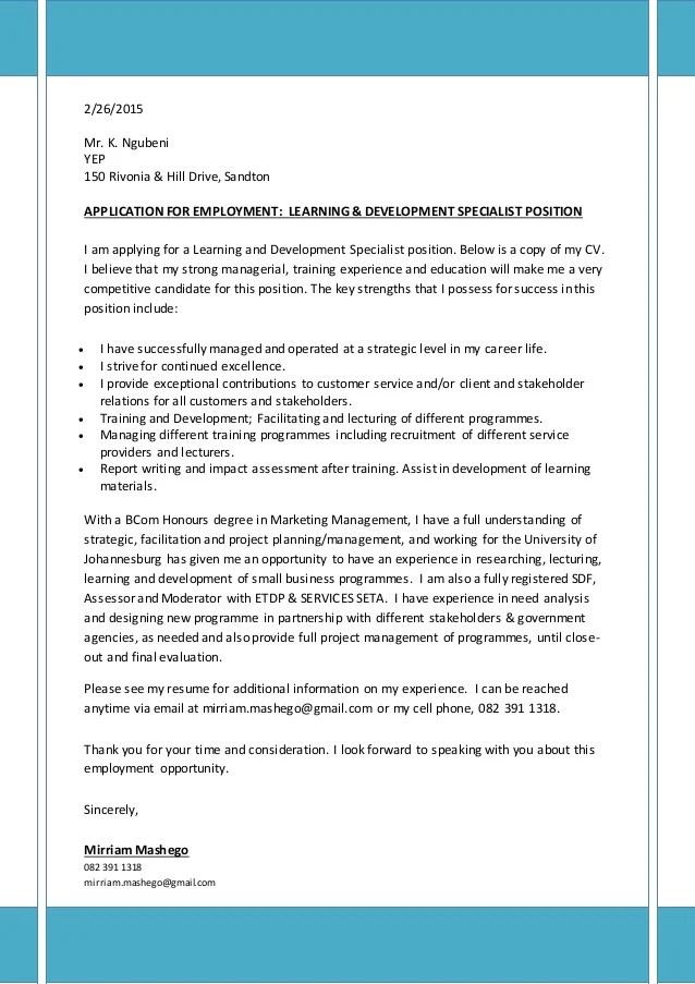 cover letter training specialist - Doritmercatodos