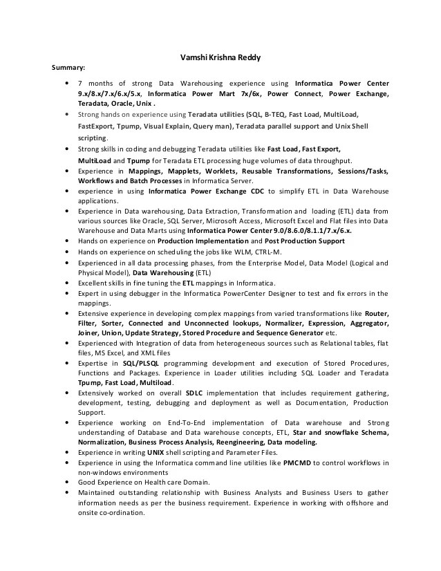 Dorable Informatica Data Modeling Resume Pattern - Professional - data modeling resume