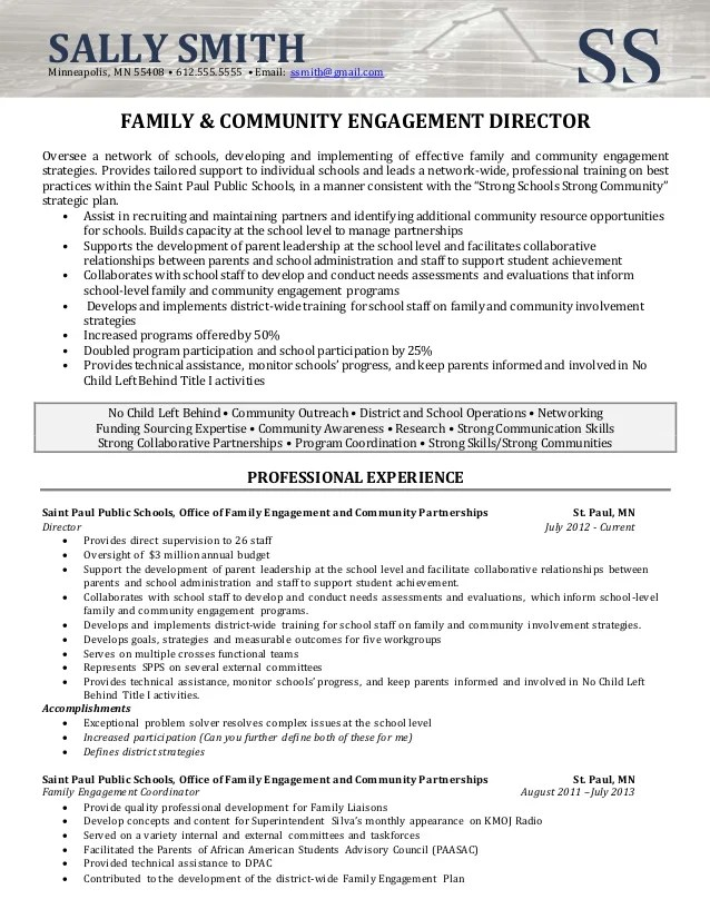 community outreach resume - Eczasolinf