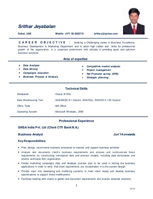 cv business analyst english