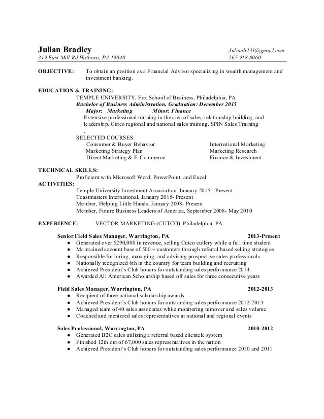 financial advisor resume - Trisamoorddiner