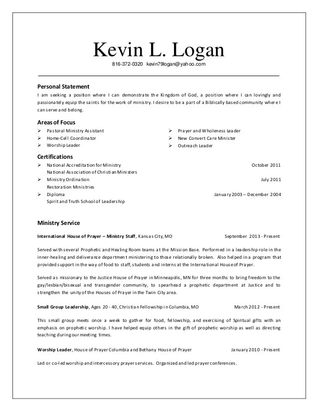 resume cover letter examples ministry