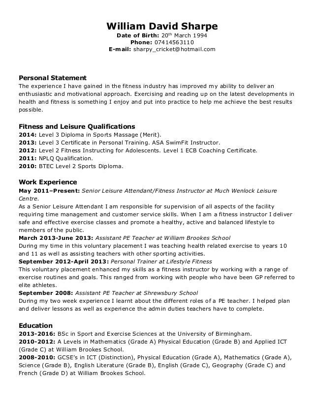 personal statement cv en francais