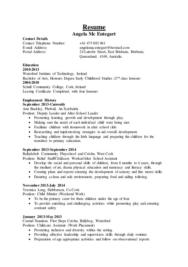 cover letter for daycare assistant - Goalgoodwinmetals - daycare attendant sample resume