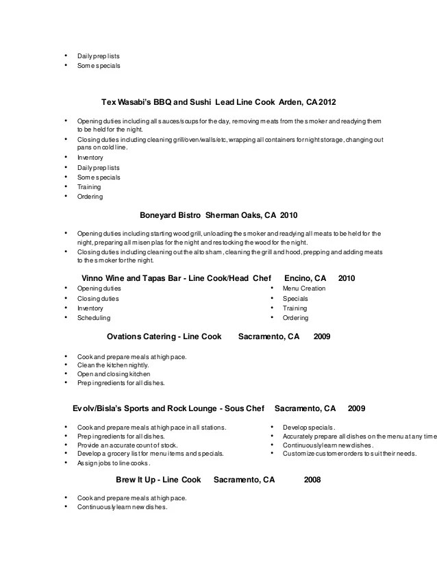 line cook resume template - Intoanysearch