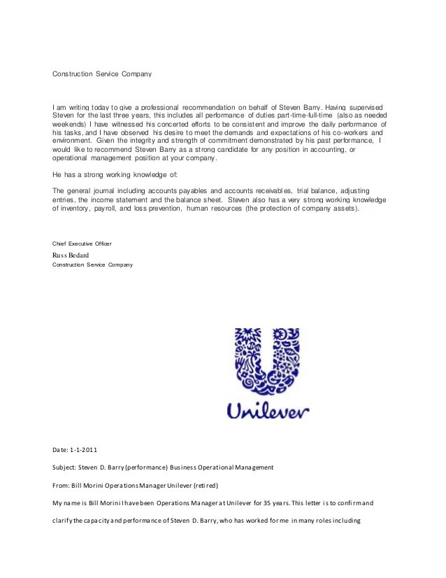 customer service letter of recommendation sample - Intoanysearch