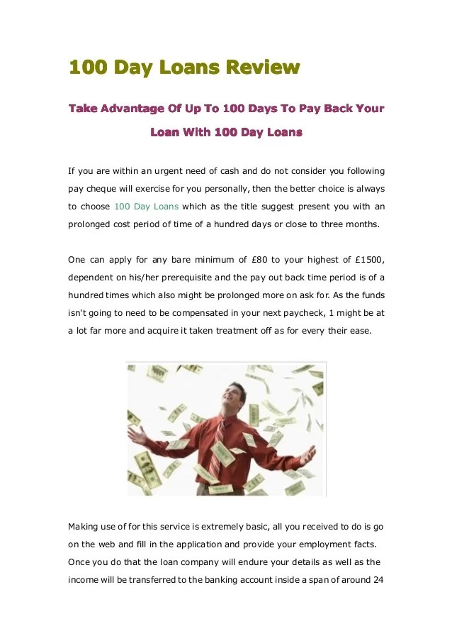 100 day loans phone number