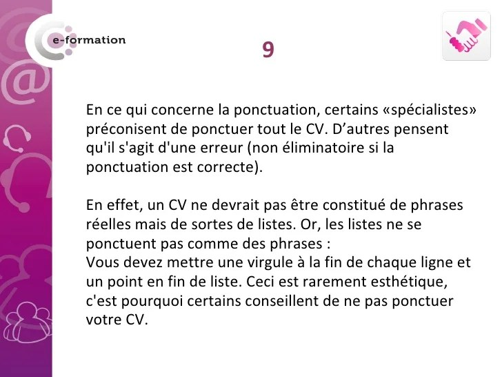 mettre des point a la fin des phrases cv
