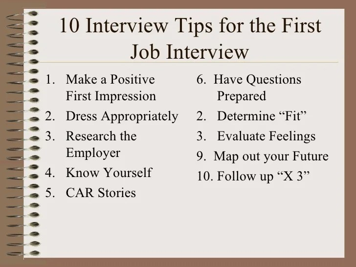 job interview tips for highschool students