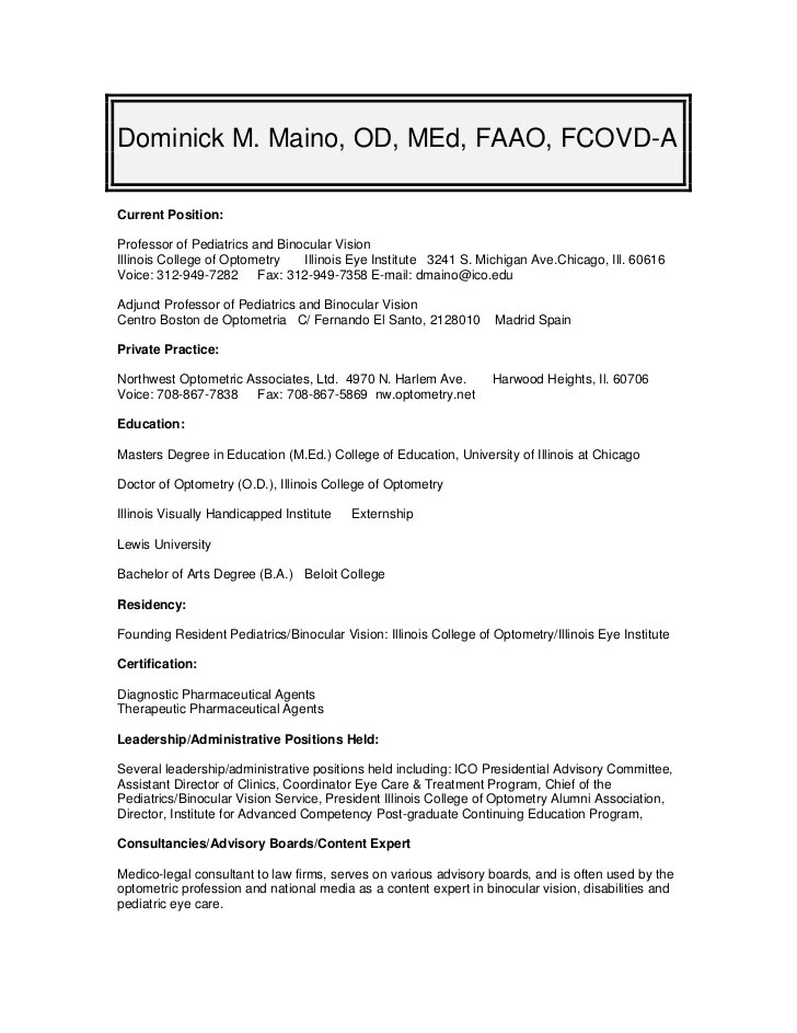 Canadian Resume Writing Service Cvresume For Dr Dominick Maino