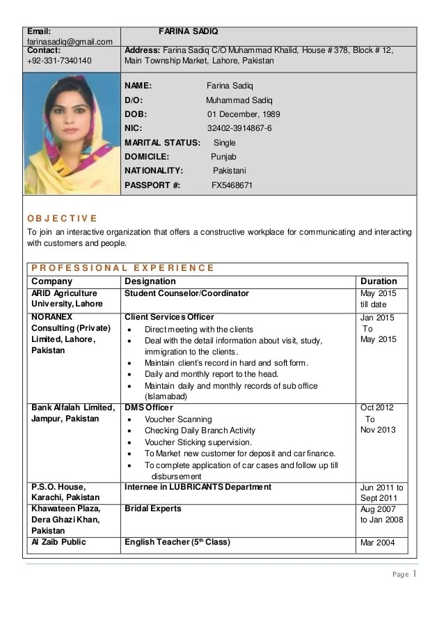 Sample Of A Curriculum Vitae Teacher Cv Curriculum Vitae The Different Formats September 2017 Rozee Cv 10274262 1609554 Farina Sadiq