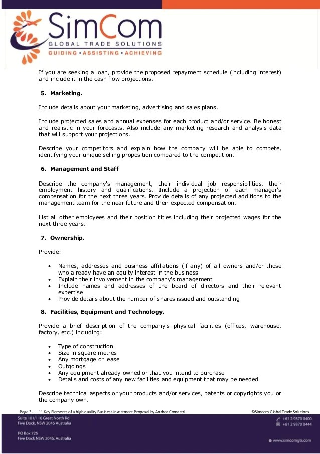 business investor proposal template