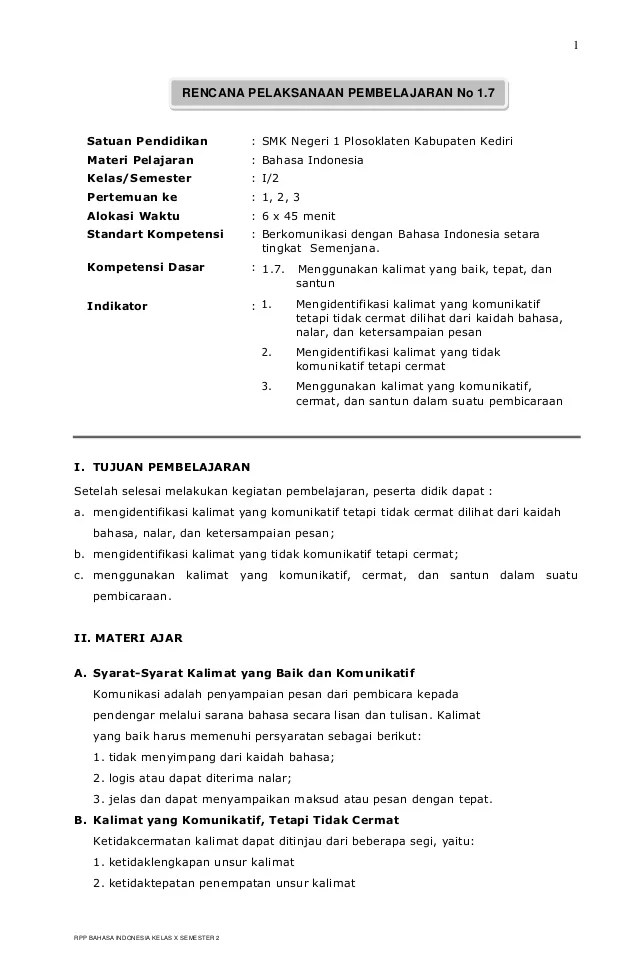 Download Rpp Bahasa Indonesia Smp Berkarakter Kelas 7 8 Share The Knownledge