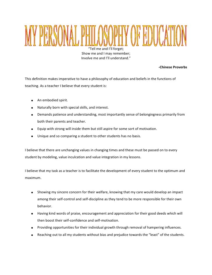 Free Personal Philosophy Essays And Papers 123helpme 12a My Personal Philosophy Of Education