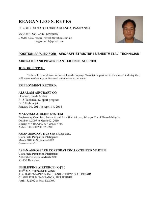 aircraft technician resume - Canasbergdorfbib