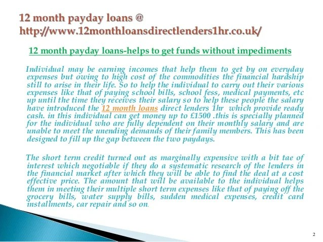 12 month payday loans @ 12monthloansdirectlenders1hr.co.uk