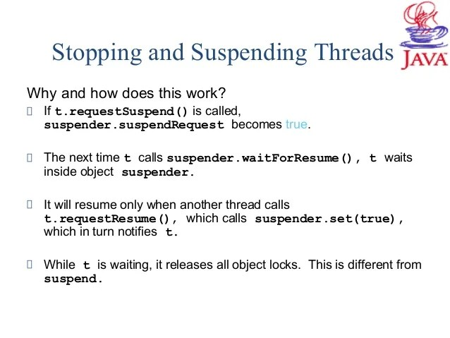 suspend and resume in java example