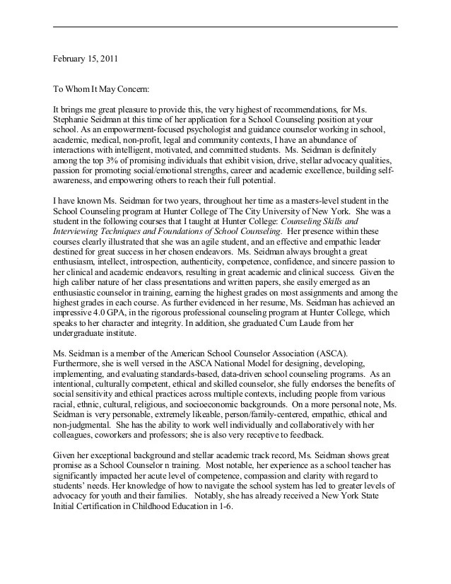 school counselor recommendation letter sample