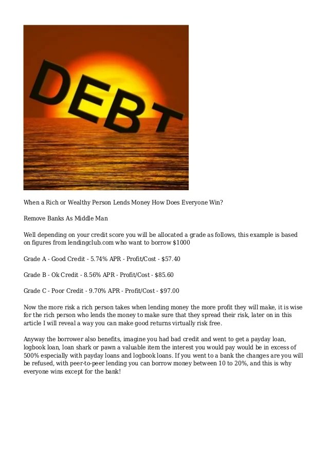 Best Rich People Willing To Lend Money 2013 - Get A Loan From A Wealt…